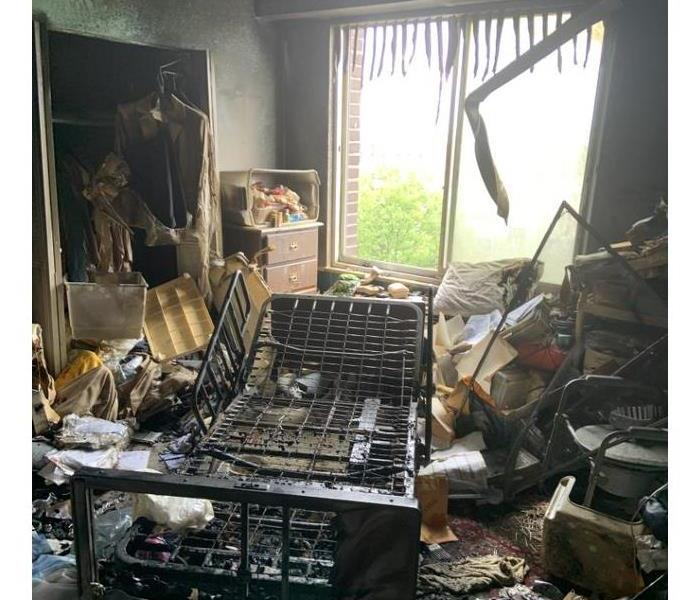 Fire damaged room