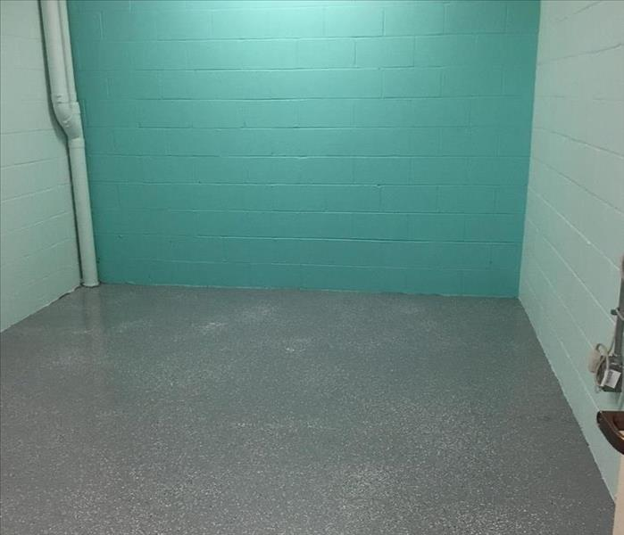 Teal colored room