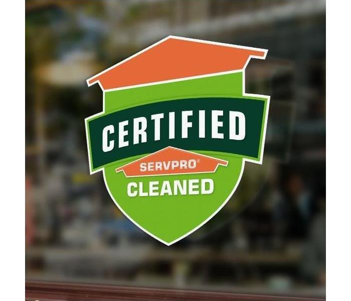 Decal with words Certified: SERVPRO Cleaned