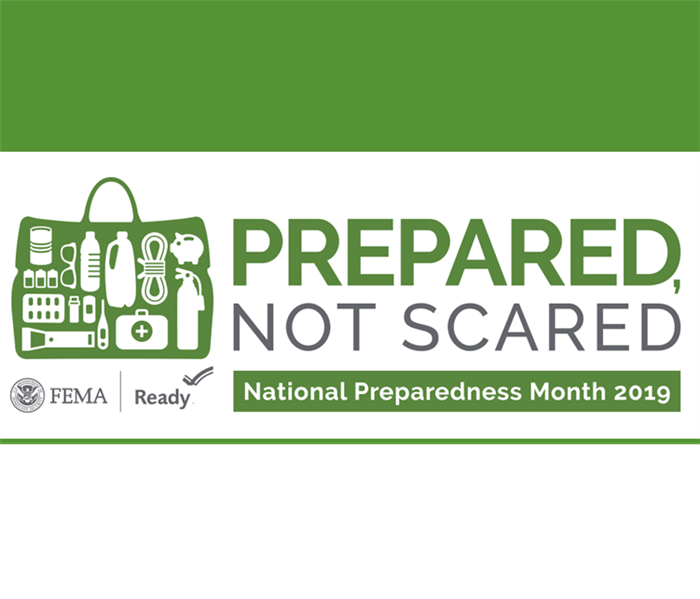 "A banner reading ""Prepared, Not Scared - National Preparedness Month 2019"""