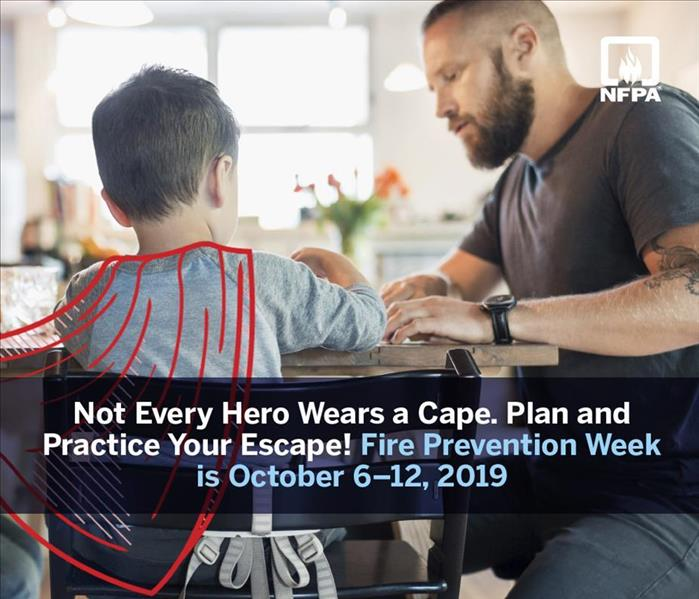 "A man and boy sitting at a table. The caption reads, ""Not Every Hero Wears a Cape. Plan and Practice Your Escape!"""