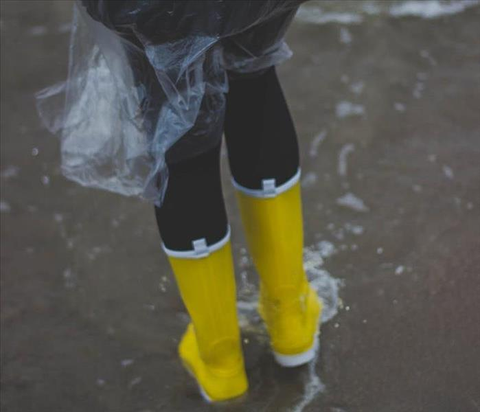 Yellow boots in the rain